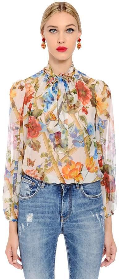 Dolce & Gabbana Bamboo Floral Printed Silk Chiffon Shirt