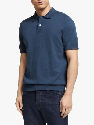 John Lewis & Partners Linen Cotton Knitted Polo Shirt