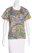 Sea Paisley Print Short Sleeve Top