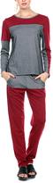 Stanzino Burgundy & Gray Color Block Top & Sweatpants