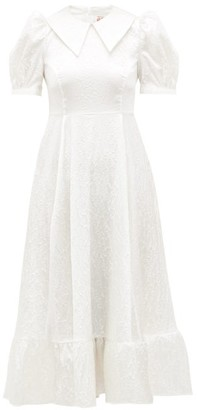 Shrimps Morpheus Floral Puff-sleeved Satin-cloque Dress - White