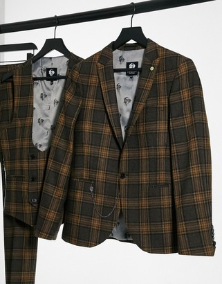 Twisted Tailor suit jacket in brown and gray plaid