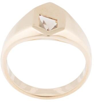 Natalie Marie 9kt yellow gold Piet stone smokey quartz signet ring