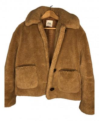 Zara Camel Synthetic Jackets