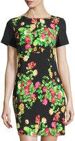 Melissa Masse Garden-Print Short-Sleeve Sheath Dress, Heirloom Garden