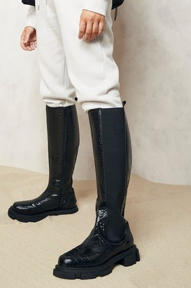 boohoo Wide Fit Chunky Knee High Croc Chelsea Boots