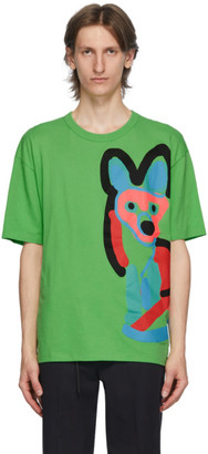 MAISON KITSUNÉ Green ACIDE Fox Print T-Shirt