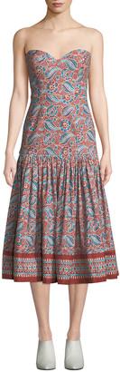 Veronica Beard Fiore Printed Sweetheart Midi Dress