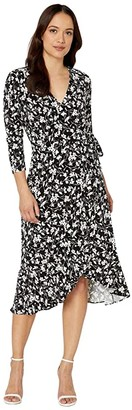 Lauren Ralph Lauren Petite High-Low Jersey Dress (Polo Black/Silk White) Women's Clothing