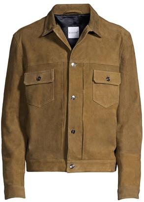 eidos Olive Suede Trucker Jacket
