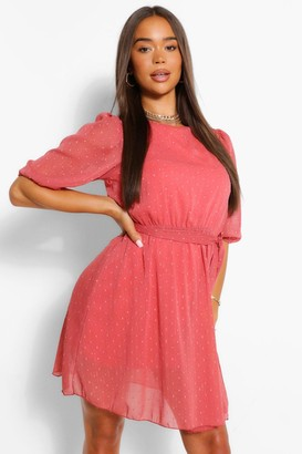 boohoo Metallic Dobby Mesh Tie Belt Shift Dress