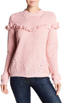 Cotton Emporium Ruffle Knit Pullover Sweater