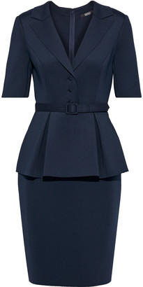 Badgley Mischka Belted Neoprene Peplum Dress