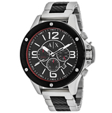 Giorgio Armani Exchange Wellworn AX1521 Men's Black Ion-Plated Stainless Steel Chronograph Watch