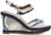 Santoni embroidered medallion sandals - women - Leather/Canvas/rubber - 36