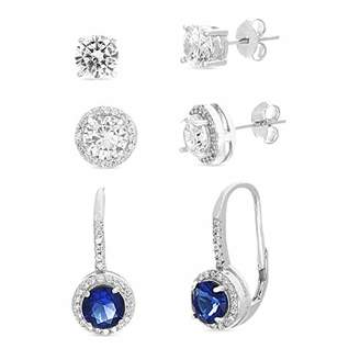 MIA SARINE Rhodium Plated Sterling Silver 6mm Round Cubic Zirconia and Simulated Sapphire Stud Combo and Leverback 3 Pair Bridal Earring Set for Women ()