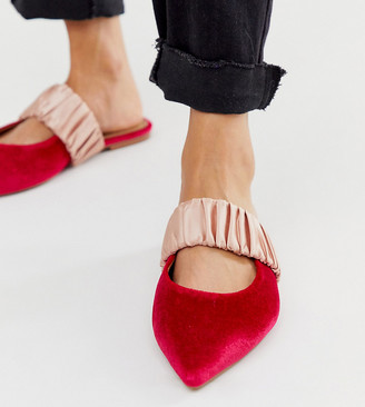 Asos Design DESIGN Wide Fit Lately pointed mules in pink velvet-Multi