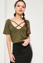 Missguided Khaki Ribbed Cross Front T Shirt
