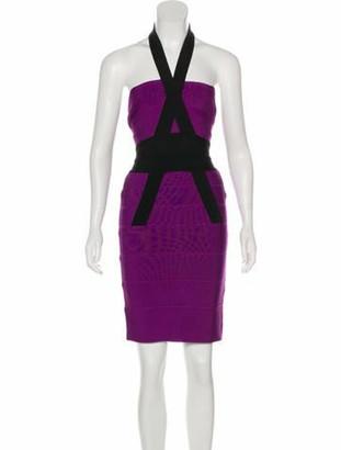 Herve Leger Halter Bandage Dress Violet