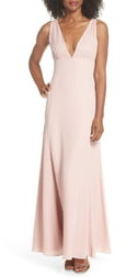 WAYF The Kiara Empire Plunge Neck Gown