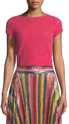 Alice + Olivia Kelli Embellished Short-Sleeve Top
