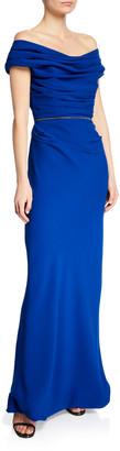 Roland Nivelais Ruched Off-The-Shoulder Silk Crepe Dress