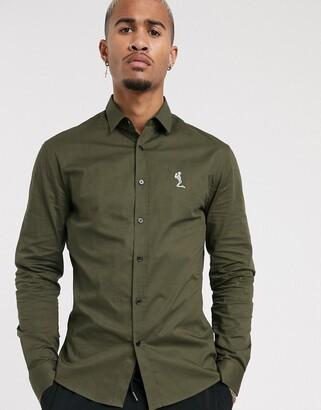Religion muscle fit logo poplin shirt in khaki