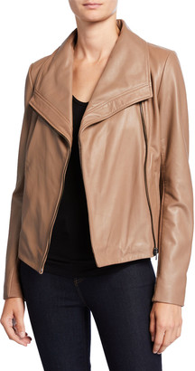 Neiman Marcus Leather Collection Wide-Collar Zip-Front Leather Jacket