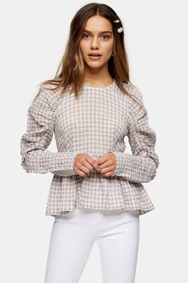 Topshop Womens Petite Lilac Seersucker Gathered Sleeve Blouse - Lilac