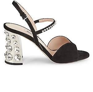 Miu Miu Women's Jewelled Block-Heel Suede Slingback Sandals