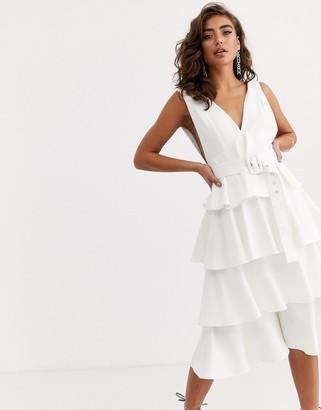 Pretty Lavish deep plung tiered midi dress in white crepe