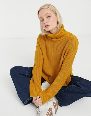 Monki Dosa knitted turtle neck sweater in ochre-Yellow