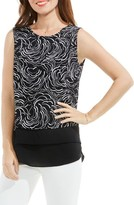 Vince Camuto Women's Graphic Ribbons Mixed Media Top