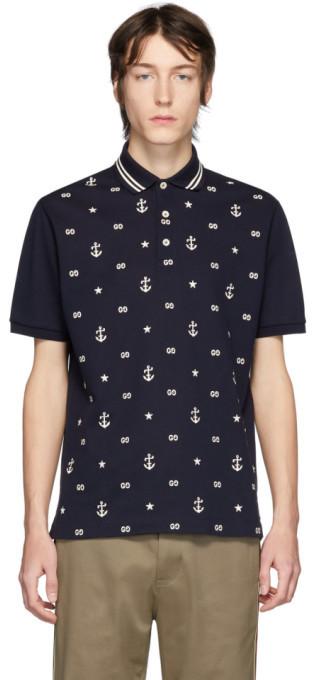 Gucci Navy GG Nautical Polo