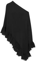 Minnie Rose F41350C16 Cashmere Romantic Ruffle Ruana In Black