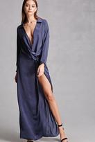 Forever 21 FOREVER 21+ Satin Knotted Slit Maxi Dress