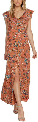Willow & Clay Printed Button Front Maxi Dress