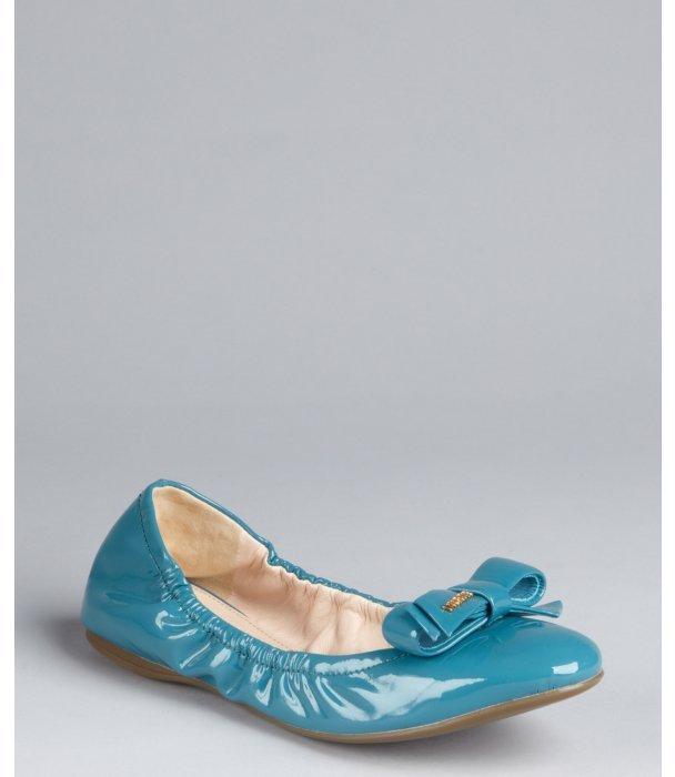 Prada Sport voyage blue patent leather flexible bow ballet flat