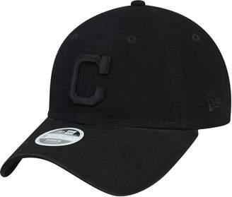New Era Women's Black Cleveland Indians Primary Logo Black on Black Core Classic 9TWENTY Adjustable Hat