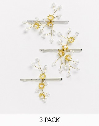 ASOS DESIGN pack of 3 occasion hair clips with flower and pearl detail in silver