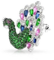 Bling Jewelry Multi Color Emerald Green AAA CZ Statement Bird Peacock 3D Brooch Pin