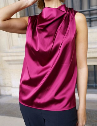 The Drop Women's Burgundy Cowl-Neck Sleeveless Top by @sabthefrenchway M