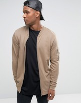 Asos Longline Jersey MA1 Bomber Jacket With Side Zips In Beige