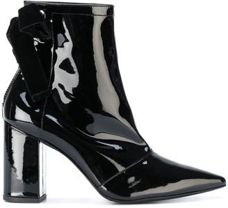 Clergerie x Self Portrait velvet bow ankle boots