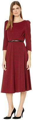 Calvin Klein Belted Houndstooth Midi Dress (Black/Red) Women's Dress