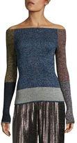 Christopher Kane Metallic Colorblock Off-The-Shoulder Sweater