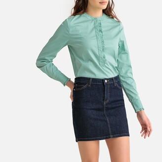 La Redoute Collections Ruffled Mandarin Collar Shirt in Cotton Mix