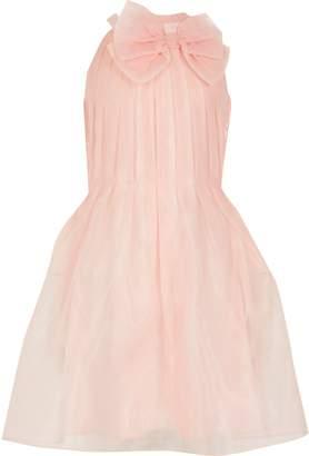 River Island Girls Pink organza bow neck prom dress