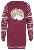 Fat Face Girls' Hedgehog Knitted Dress, Grape