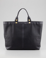 Reed Krakoff Track Perforated Leather Tote Bag, Black